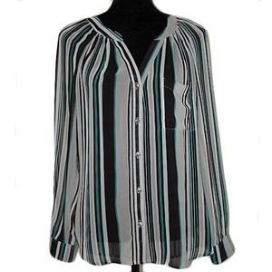 BEBE Sheer Button Down Striped Blouse size Small